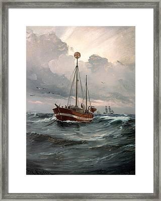 The Light Ship At Skagen Reef Framed Print