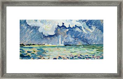 The Lighthouse At Gatteville Framed Print by Paul Signac
