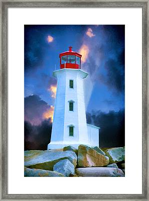The Lighthouse At Peggys Cove Framed Print