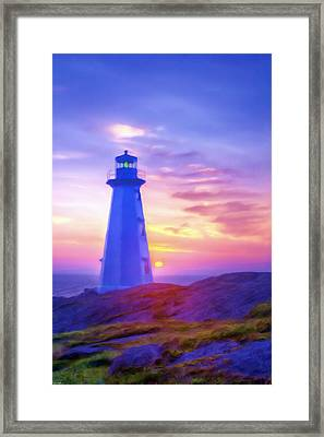 The Lighthouse At Sunset Framed Print