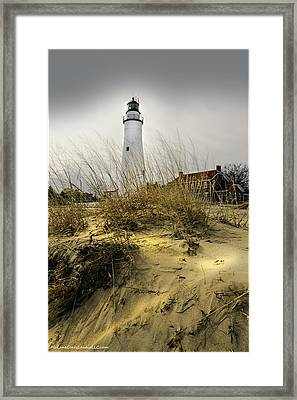 The Lighthouse Beach At Fort Gratiot Michigan Framed Print