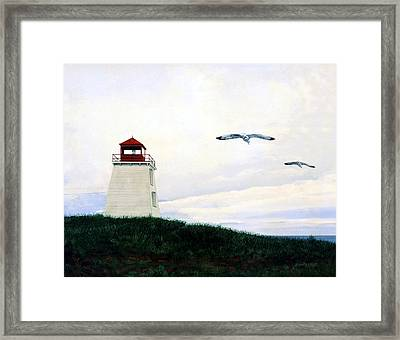 Framed Print featuring the painting The Lighthouse by Ron Haist