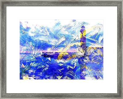 The Lighthouse Through Turbulent Waters Framed Print by PainterArtist FIN
