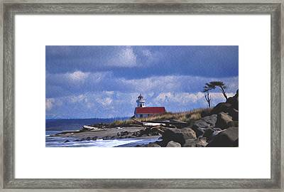 The Lighthouse With The Red Roof. Framed Print