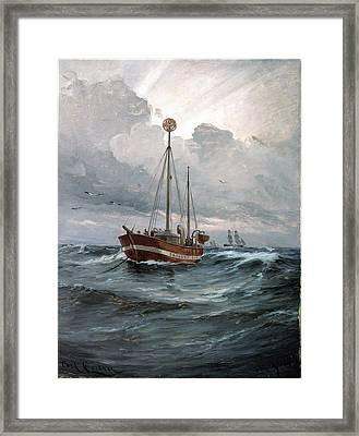 The Lightship At Skagen Reef Framed Print by Carl Locher