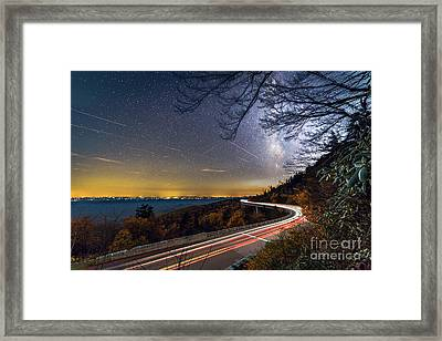 The Linn Cove Viaduct Milky Way Light Trails Framed Print