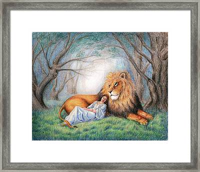 The Lion And Me Framed Print by Heidi Carson