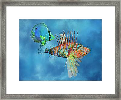 The Lion And The Butterfly Framed Print