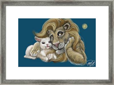 The Lion And The Lamb  Framed Print
