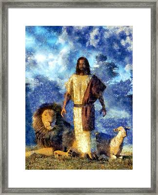 The Lion And The Lamb Framed Print by Christian Art