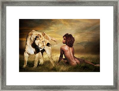 Framed Print featuring the photograph The Lion Girl by Brian Tarr