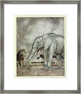 The Lion, Jupiter And The Elephant, Illustration From Aesops Fables, Published By Heinemann, 1912 Framed Print by Arthur Rackham