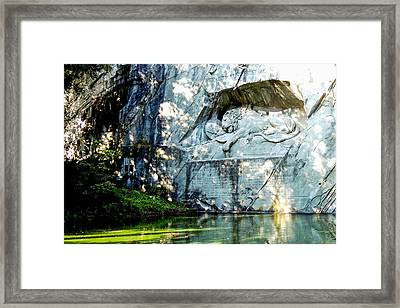 The Lion Monument In Lucerne Switzerland Framed Print
