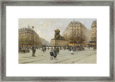 The Lion Of Belfort Le Lion De Belfort Framed Print by Eugene Galien-Laloue