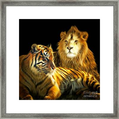The Lions Den 201502113-2brun Square Framed Print by Wingsdomain Art and Photography