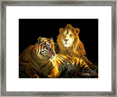 The Lions Den 201502113-2brun Framed Print by Wingsdomain Art and Photography