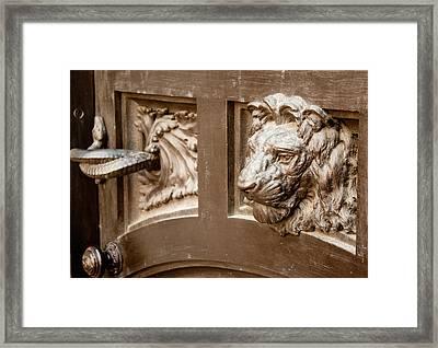 The Lion's Head Door Framed Print