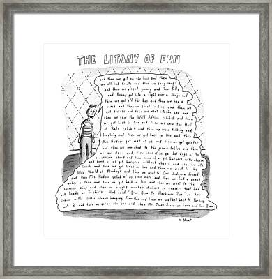 The Litany Of Fun ...and Then We Got On The Bus Framed Print by Roz Chas