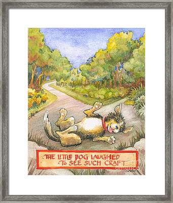 Framed Print featuring the painting The Little Dog Laughed by Lora Serra