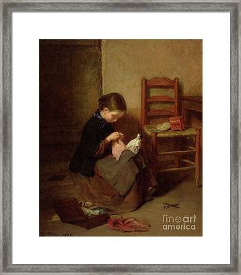 The Little Dressmaker Framed Print by Pierre Edouard Frere