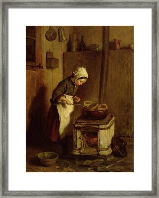 The Little Housekeeper Framed Print by Pierre Edouard Frere