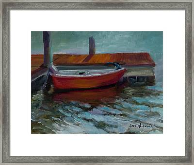 The Little Red Boat Framed Print by Jane Woodward