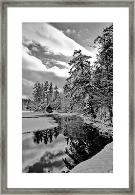 The Little Red Boathouse In Old Forge Framed Print by David Patterson