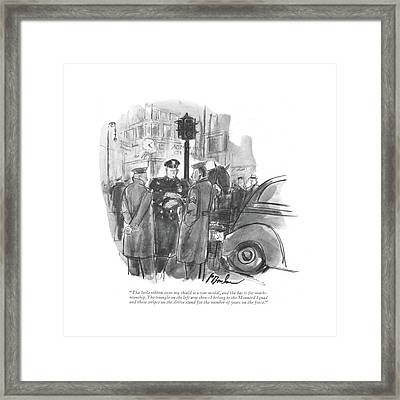 The Little Ribbon Over My Shield Is A War Medal Framed Print by Perry Barlow