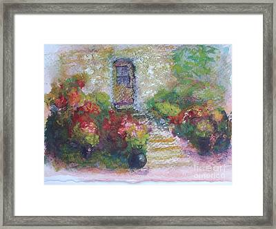 The Little Stone House With Flowers Framed Print by Pierre Robillard