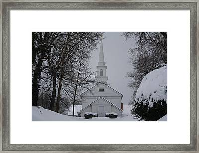 Framed Print featuring the photograph The Little White Church by Dora Sofia Caputo Photographic Art and Design