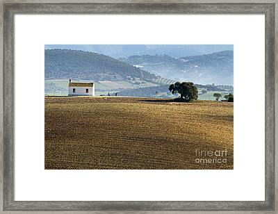 The Little White House In The Fields Framed Print by Heiko Koehrer-Wagner
