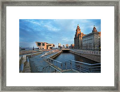 The Liver Buildings And The New Pier Framed Print by Panoramic Images