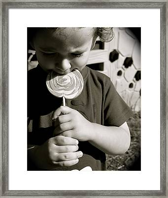 The Lollipop Framed Print by Cherie Haines