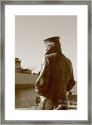 The Lone Sailor Sculptor  Framed Print by Dwight Cook