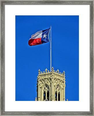 The Lone Star Flag Over The Emily Moran Hotel - San Antonio Framed Print