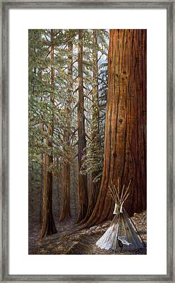 The Lone Tee Pee Redwood Framed Print by Gregory Perillo
