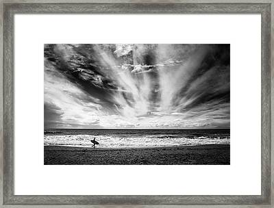 The Loneliness Of A Surfer Framed Print