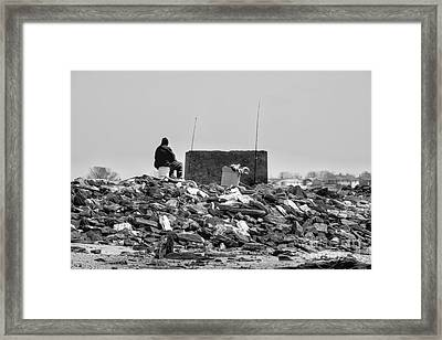 The Lonely Fisherman Framed Print by Rick Kuperberg Sr
