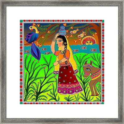 The Lonely Radha-madhubani Style-digital Framed Print by Latha Gokuldas Panicker