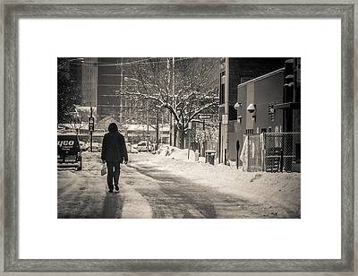 The Lonely Snowy Walk Framed Print