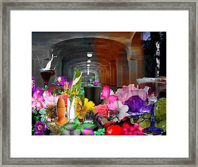 Framed Print featuring the digital art The Long Collage by Cathy Anderson