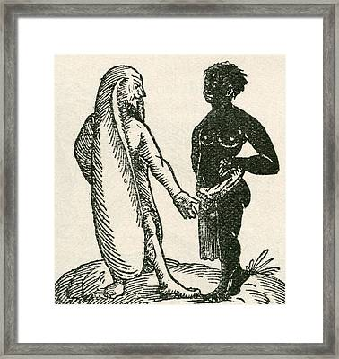 The Long Eared Man Scolds His Servant Framed Print by English School