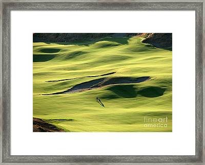 Framed Print featuring the photograph The Long Green Walk - Chambers Bay Golf Course by Chris Anderson