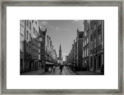 The Long Lane In Gdansk Bw Framed Print by Adam Budziarek