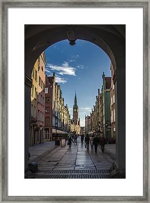 The Long Lane In Gdansk Seen From The Golden Gate Framed Print by Adam Budziarek