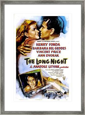 The Long Night, Us Poster, Barbara Bel Framed Print by Everett