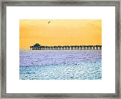 The Long Pier - Art By Sharon Cummings Framed Print by Sharon Cummings