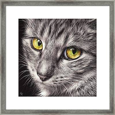 The Look Framed Print by Elena Kolotusha