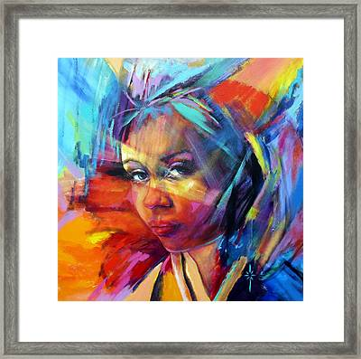 Framed Print featuring the painting The Look by Jodie Marie Anne Richardson Traugott          aka jm-ART
