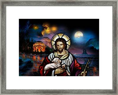 Framed Print featuring the digital art The Lord Is My Shepherd by Karen Showell